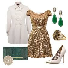 A gold dress looks good with white and green too :)