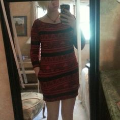 *SALE* American apperal red Aztec dress This American apperal aztec dress is one size. I am a medium/large and it fits me. It also fit me when I was a small. All reasonable offers will be negotiated would be good for new years eve! American Apparel Dresses