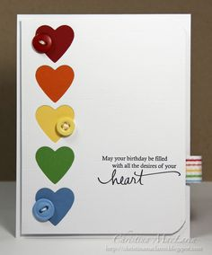 Beautiful simple rainbow. The ribbon detail seems to be rather essential to really pull this card off.