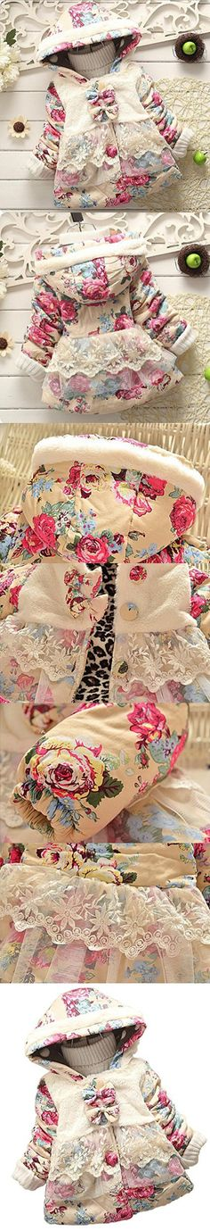 Baby Girl Floral Bowknot Thickened Warm Jacket Winter Coat 6-12Months Pink