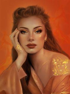 Leo by Zaid Dibis Digital Art Girl, Digital Portrait, Portrait Art, Zodiac Art, Leo Zodiac, Zodiac Signs, Libra Art, Astrology Signs, Girl Cartoon