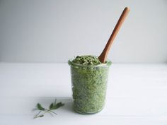Fresh, lovely and easy to make - it really takes no time to make a batch of this versatile Sunflower Seed Herb Pesto!