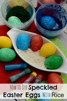 Easter Eggs fun ways to dye Easter Eggs, Did you know you can do it with RICE and Food Color and it turns out amazing, Easter hacks, Speckled Eggs, Popular tricks Easter Egg Dye, Easter Egg Crafts, Coloring Easter Eggs, Hoppy Easter, Easter Party, Easter Treats, Food Coloring Egg Dye, Cool Easter Eggs, Easter Bunny