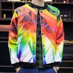 26c9033b55cf 3D colorful Underbrush baseball jacket coat for men plus size clothing Size  Clothing
