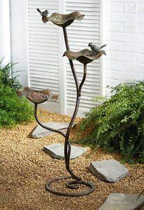 Cast Iron 3 Tier Free Standing Bird Feeder Bath Aviary Design Birdfeeder Brown