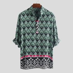 ChArmkpR Mens Ethnic Style Printed Stand Collar Breathable Half Sleeve Loose Casual Henley Shirts is best and cheap on Newchic. Mens Summer T Shirts, Cheap Mens Shirts, Poodle Dress, Short Sleeve Denim Shirt, Half Shirts, Shirt Refashion, Ethnic Patterns, Ethnic Fashion, Men's Fashion