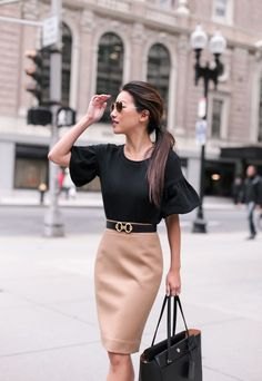 Fall work outfit: camel wool skirt bell sleeve top - Work Dresses - Ideas of Work Dresses - what to wear to work in the fall // black petites top hermes belt wool pencil skirt for a stylish office outfit Dressy Fall Outfits, Fall Outfits For Work, Casual Work Outfits, Mode Outfits, Work Attire, Fashion Outfits, Fashionable Outfits, Work Casual, Women Work Outfits