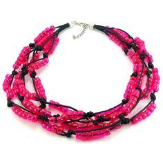 Ręcznie plecione korale na czarnym sznurku bawełnianym zkoralików akrylowych w kolorze różowym. Zakończenie z karabińczykiemi oczkami do regulacji. Bracelets, Jewelry, Fashion, Moda, Jewlery, Jewerly, Fashion Styles, Schmuck, Jewels