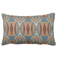 Teal Dark Red Tan Brown Ethnic Mosaic Pattern Lumbar Pillow - western style diy unique customize stylish