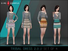 The Sims Resource: Aztec Sweater Dress set of 4 by SIms 4 Krampus • Sims 4 Downloads