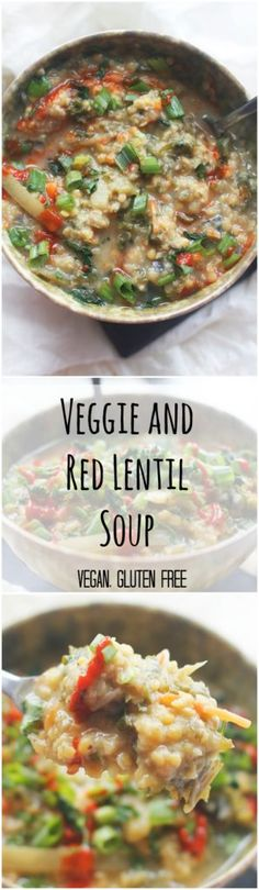 Veggie and Red Lentil Soup - Two City Vegans  Vegan, gluten free. Warm, comforting, and delicious.