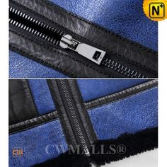 CWMALLS® Men's Blue Winter Sheepskin Biker Jacket CW807648