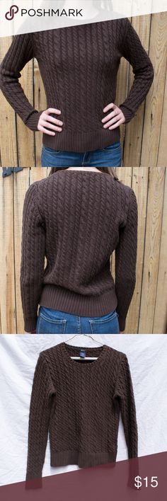GAP Chocolate Cable Knit Sweater GAP Brown Cable Knit Sweater  -Like-new condition -Warm, chocolate cable knit top -Would go nicely with a colorful fall-colored scarf -Perfect for pumpkin coffee, cozy boots, and a long coat! GAP Sweaters