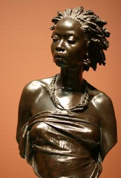 """Charles Henri Joseph Cordier French, 1827-1905 Cast by: Eck et Durand Fondeur French, 19th century  Bust of an African Woman, 1851  Bronze H. 71.7 cm (31 in.) (with socle) H. 62.2 cm (27 1/4 in.) (without socle) Signed and dated: """"1851 / CCORDIER Ada Turnbull Hertle Endowment, 1963.840"""