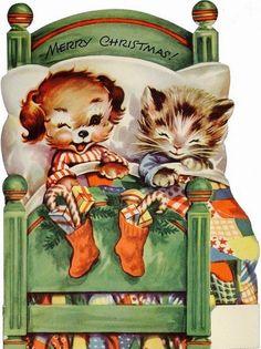 Christmas Puppy. Christmas Kitten. Vintage Christmas Card. Retro Children's Card.