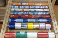 wrapping paper roll out Roll Out Shelves, Custom Cabinetry, Art Supplies, Wrapping, Rolls, Wraps, Paper, Projects, Shelf