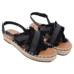 10aaa7aa3065ad Buckle Strap Denim Sandals (2