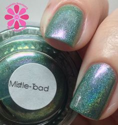 different DIMENSION Mistel-Toad Swatch - Cosmetic Sanctuary; Brand: different DIMENSION, Name: Mistel-Toad, Collection: Happy Holly Days, Color: Green, Shade: Dark, Finish: Crème, Type: Linear Holographic