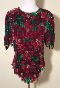 Vintage 1980s Laurence Kazar Poinsettia Red and White Heavy Sequined Christmas Holiday Short Sleeved Blouse, Size Large by LOVELADYBIRDVINTAGE on Etsy