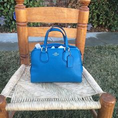 NEW Blue Coach purse ✨ Super cute blue coach purse.  Perfect for all seasons. Brand new with tags. Leather. Comes with dust bag. And straps. As seen in picture 3. Coach Bags Shoulder Bags