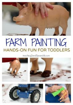 Toddler Farm Theme Painting Activity This toddler farm painting activity is an easy and fun hands-on art idea for 2 year olds. They can even wash the paint off the animals in the water table! From Teaching 2 and 3 Year Olds Art Activities For Toddlers, Farm Activities, Painting Activities, Animal Activities, Infant Activities, Preschool Farm Theme, Farm Theme Crafts, Preschool Painting, Farm Animal Crafts
