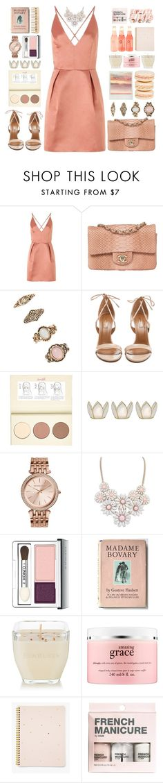 """""""Hello Prom!"""" by doga1 ❤ liked on Polyvore featuring Lipsy, Forever 21, Aquazzura, Mikimoto, River Island, Cultural Intrigue, Michael Kors, Clinique, The Body Shop and Matter and Home"""