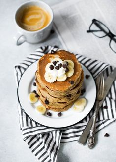 Whole Wheat Banana Bread Pancakes with Chocolate Chips - Ambitious Kitchen Desserts With Chocolate Chips, Chocolate Chip Pancakes, Chocolate Chip Recipes, Banana Pancakes, Pancakes And Waffles, Dessert Chocolate, Whole Wheat Banana Bread, Whole Wheat Flour, Breakfast Recipes