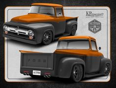 Fat Fender Garage - 1956 Ford Design with a supercharged Roush Coyote engine Vintage Pickup Trucks, Classic Pickup Trucks, Ford Pickup Trucks, Ford Classic Cars, Gmc Trucks, 1956 Ford Truck, F100 Truck, Mini Trucks, Cool Trucks