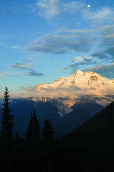 Glacier Peak and Moon