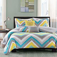 jcp | Intelligent Design Ariel Chevron Comforter Set queen $90  contains: comforter, 2 shams, 2 decorative pillows