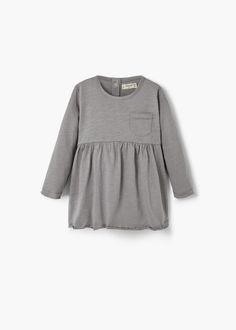 Katoenen jurk met zak | MANGO KIDS