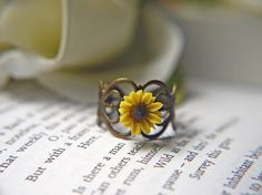 I Heart Sunflower Ring. Bright Yellow Sunflower. Available In Antique Brass. $13.00, via Etsy.