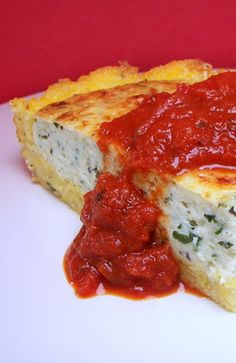 savory polenta crusted ricota pie