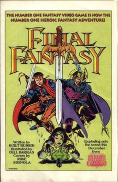 The cover of the never released FINAL FANTASY comic by Kurt Busiek, Del Barras and Mike Mignola. This was supposed to be a four-issue series based on Final Fantasy IV (released in North America as Final Fantasy II), however the Disney owned Hollywood Comics, who had the rights to distribute the comic, became defunct in 1993. Only 2 comics were completed, while all 4 covers were completed.