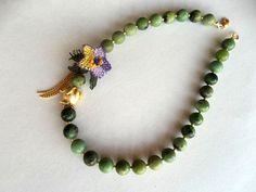 Chrysoprase NecklaceNatural Stone Necklace by GULDENTAKI on Etsy, $36.00