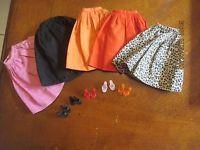 1962/63 Barbie & Midge - (Cotton Mix 'N Match Group) Pink, Black, Gold, Orange & White/Black Gathered Cotton Skirt (Fashion Paks) #1655