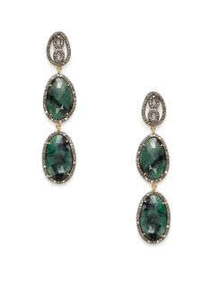 Diamond & Emerald Multi-Oval Earrings by Karma Jewels at Gilt