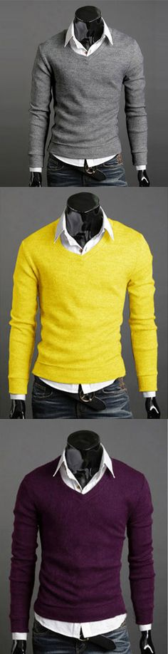 1eff6b5ac15 New Fashion Best Selling Spring Multi-Color Sweater Slim V-Neck Basic Sweater  Male