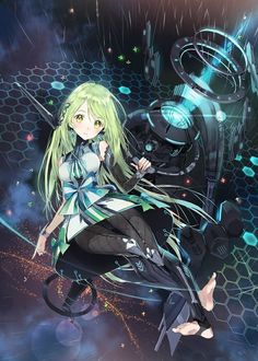 Anime picture 				800x1120 with  		original 		akiru (igel-flutter) 		single 		tall image 		blush 		looking at viewer 		green eyes 		fringe 		green hair 		very long hair 		barefoot 		midriff 		night 		night sky 		crossed legs 		flying 		outdoors 		pointing 		head tilt 		cloudy sky