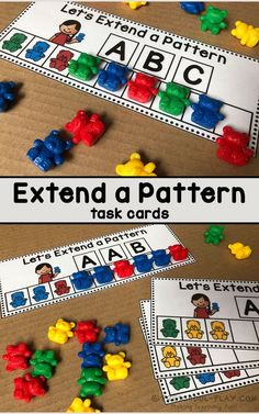 Extend a pattern task cards for preschool, pre-k, and kindergarten. Part of a Mathematics (Functions · Measurement · Geometry · Reasoning) Center Activities packet. - Education and lifestyle Patterning Kindergarten, Activity Centers, Math Centers, Kindergarten Centers, Kindergarten Preparation, Math Patterns, Preschool Activities, Preschool Learning Centers, Educational Activities