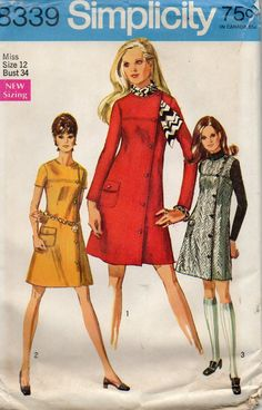 Simplicity 8339 1960s Misses Side Buttoned Dress or Jumper Coatdress womens vintage sewing pattern by mbchills