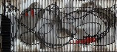 "Squiggle + Black. 12.5x 5.5"" Acrylic on corrugated board. 2016"