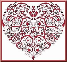 Monochrome Heart ABCstitch.com Alessandra Adelaide Needleworks cross stitch patterns and kits