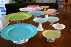 combine plates and vases/candlesticks/glassware for display stands