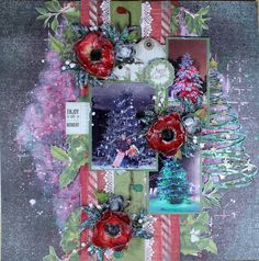A festive Christmas Layout sharing Creative Embellishments, 13Arts, Petaloo and Lindy's