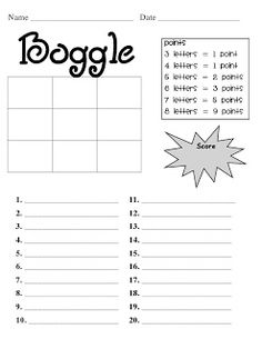 I already made a Boggle template but I love the scoring part of this sheet. 2nd Grade Ela, 2nd Grade Reading, Third Grade, Grade 3, Spelling And Grammar, Spelling Words, Spelling Ideas, Spelling Activities, Classroom Activities