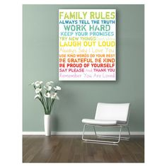 Colorful Family Rules Canvas Wall Art by Inspiring Word Play on Diy Decor, House Design, Home Decor Decals, Home Improvement Projects, Kitchen Improvements, Interior, Inspiration, Home Decor, Home Improvement