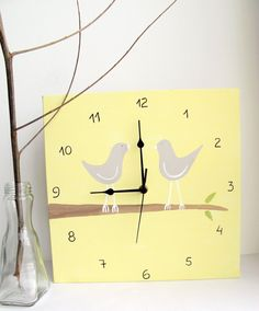 Love birds Wall clock birds on a branch yellow and by Shellyka, $32.00