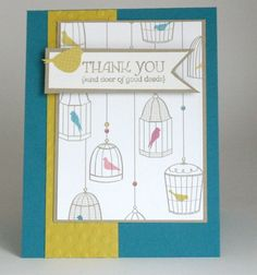 kristenscards99.wordpress.com, for the birds, thank you cards, in colors 2012-2014, stampin up, sale a bration, decretive dots, island indigo, summer starfruit, crumb cake
