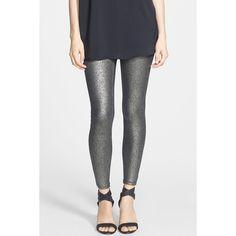 HUE Metallic Gravel Pattern Leggings ($17) ❤ liked on Polyvore featuring pants, leggings, hue leggings, print trousers, faux leggings, metallic leggings and patterned trousers